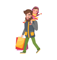 Father carrying young daughter on shoulders parent vector
