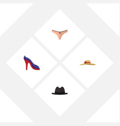 Flat icon garment set of panama elegant headgear vector