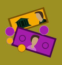 Flat icon on stylish background banknotes vector