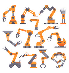 Flat manufacture robotic arm automatic robot arms vector