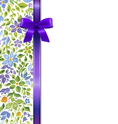 Flowers card with bow vector