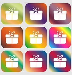 Gift box icon sign Nine buttons with bright vector image