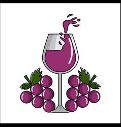 Glass splashing wine with grapes icon vector