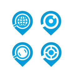 global search logo set vector image