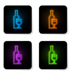 glowing neon wine bottle with wine glass icon vector image