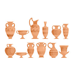 Greek vases flat set ceramic vector