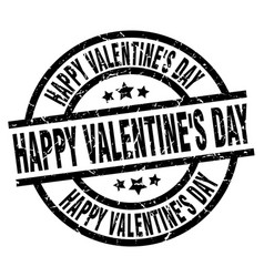 Happy valentines day round grunge black stamp vector