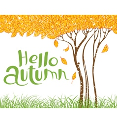 Hello autumn with tree with faling leaves vector