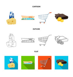Isolated object of food and drink icon set of vector