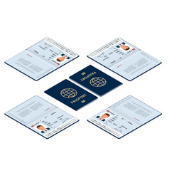 Isometric blank open passport template vector