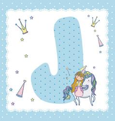 j alphabet letter for kids vector image