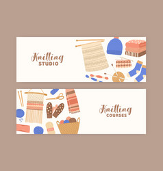Knitting and crochet banner flat templates vector