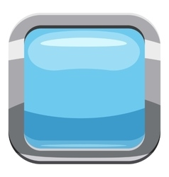 Light blue square button icon cartoon style vector