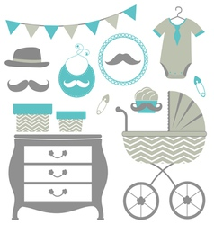 Little man is coming baby shower set vector