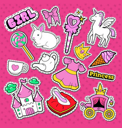 Little princess stickers badges and patches vector