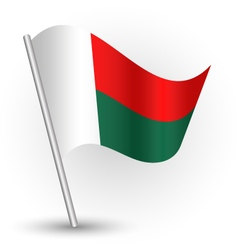 Malagasy flag on pole vector
