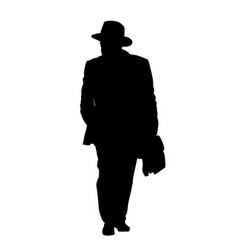man silhouette in suit and hat with briefcase vector image