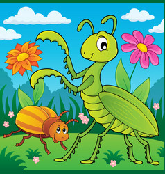 Meadow with praying mantis and bug vector
