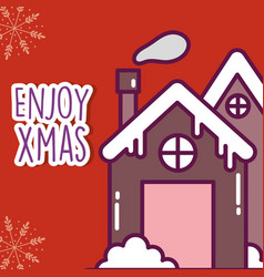 merry christmas celebration gingerbread house with vector image