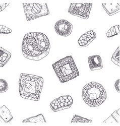 monochrome seamless pattern with maki and nigiri vector image
