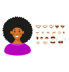 mouth set female cartoon character in flat vector image