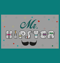 Mr hipster vintage font vector