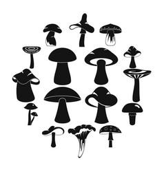Mushroom icons set simple style vector