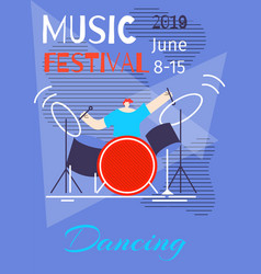music dancing summer festival poster flat template vector image