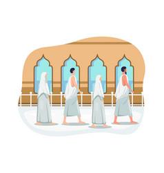 Muslims doing islamic hajj pilgrimage vector