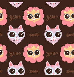 muzzle lion and cat seamless pattern with vector image