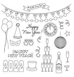 new years eve 2022 black outline digital stamps vector image
