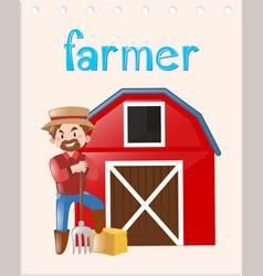 Occupation flashcard with farmer vector