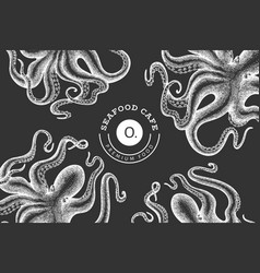 octopus design template hand drawn seafood on vector image