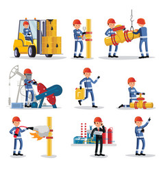 Oil industry people set vector