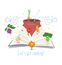 Open recipe book pot with ladle cute vegetables vector