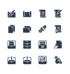 paper documents and archive related icon set vector image