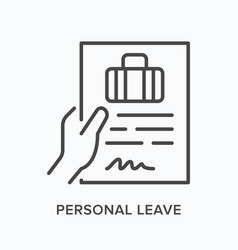 Personal leave flat line icon outline vector
