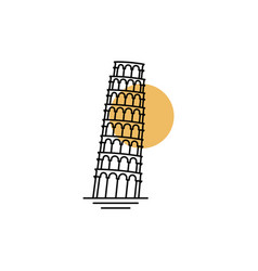 pisa tower line art icon logo template design vector image