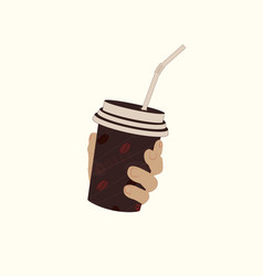 plastic cup in hand vector image