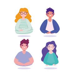 portrait men and women characters cartoon people vector image