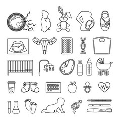 Pregnant woman and pregnancy line icons outline vector