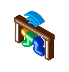Protection hide human under table isometric icon vector