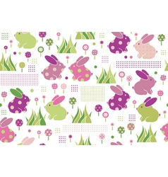 Rabbits flora pattern vector