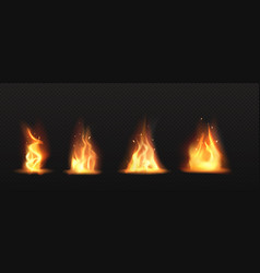realistic fire torch flame set isolated clip art vector image
