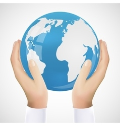Realistic Hand Holding Earth vector image