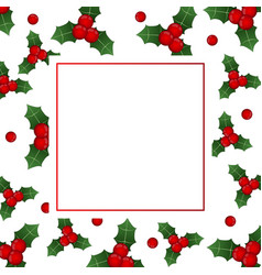 red berry christmas on white banner card vector image