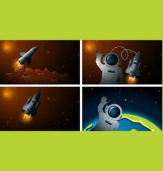 rocket and astonaut scenes vector image