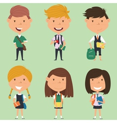 School boys and girls vector image