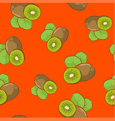 seamless pattern kiwifruit on orange background vector image