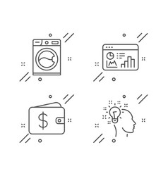 Seo statistics washing machine and dollar wallet vector